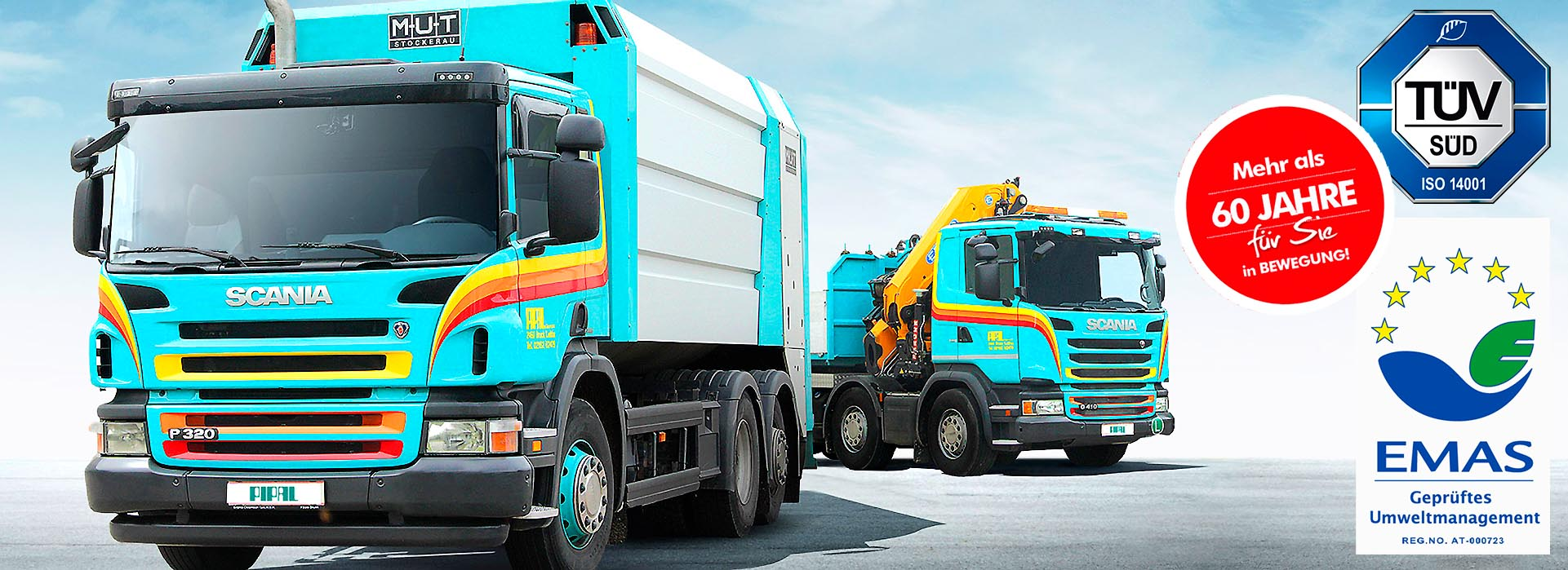 Pipal-Transporte: Gütertransporte in Wien und Niederösterreich - LKWs, Nahtransporte, Ferntransporte, Kranarbeiten, Container, Mulden, Hubarbeitsbühne, Müllabfuhr • Firmensitz in Bruck an der Leitha