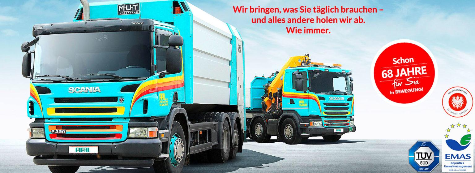 Pipal Transporte Bruck an der Leitha • Gütertransporte in Wien und Niederösterreich • Wir bringen, was Sie täglich brauchen – und alles andere holen wir ab. Wie immer.
